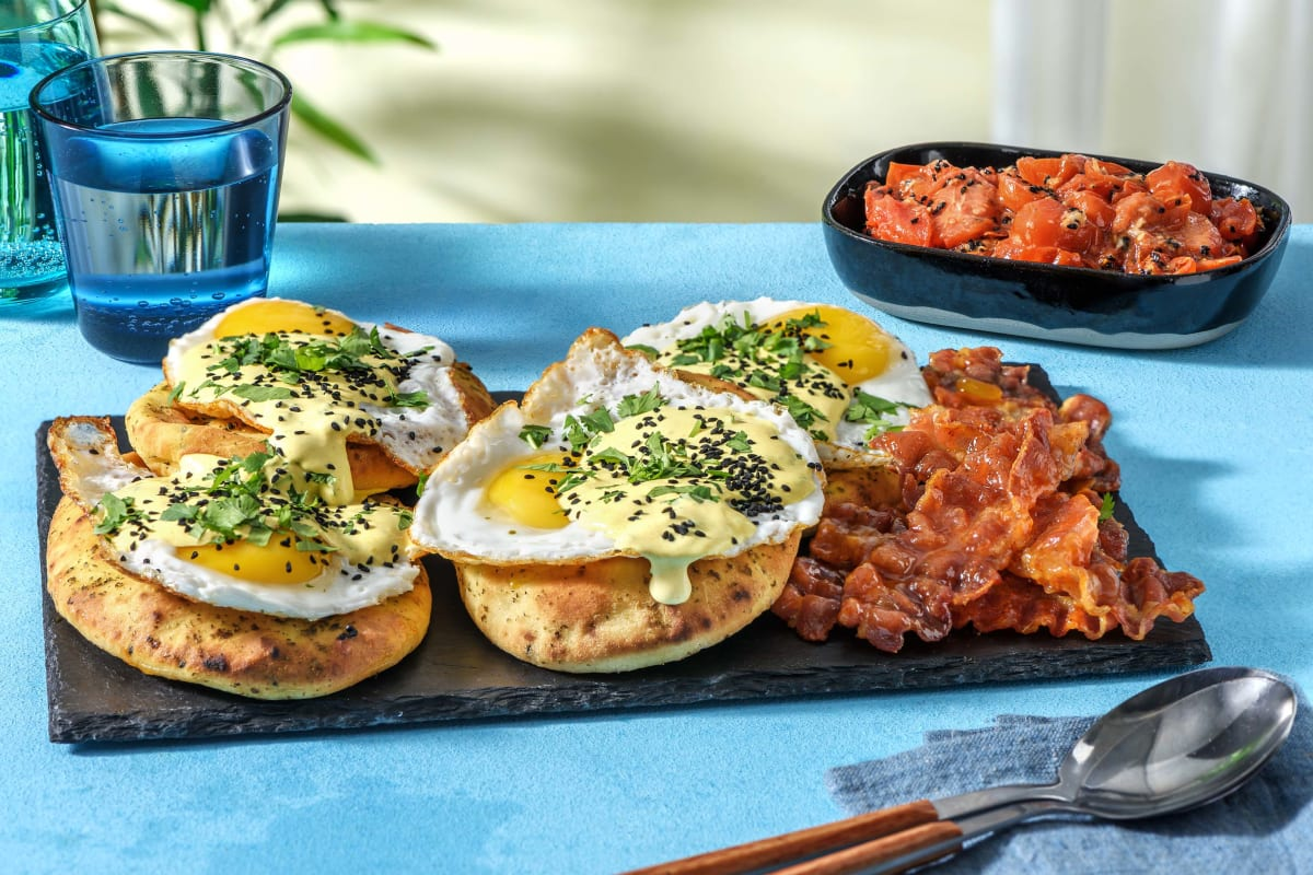 Indian Style Eggs Benedict and Buttery Naans