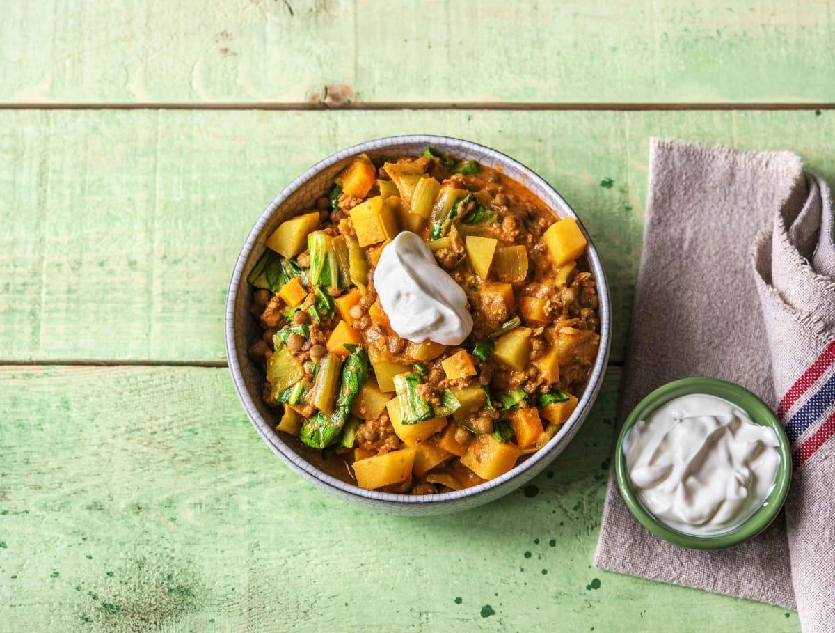 Indonesische curry met lamsgehakt
