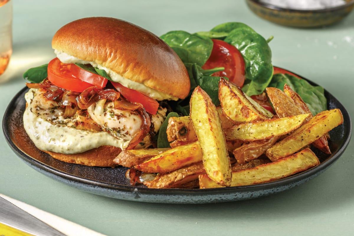 Herby Chicken Burger & Fries