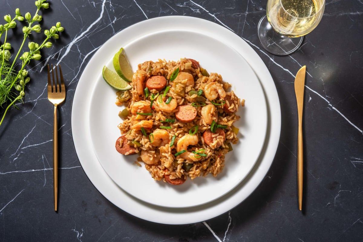 Jambalaya cajun aux crevettes & à la saucisse