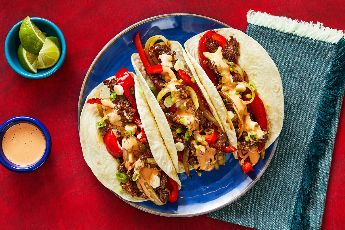 Japanese Beef & Pepper Tacos