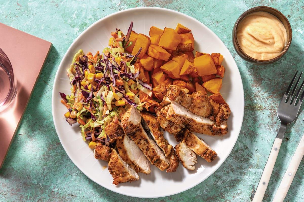 Jerk Chicken & Roasted Kumara with Charred Corn Slaw