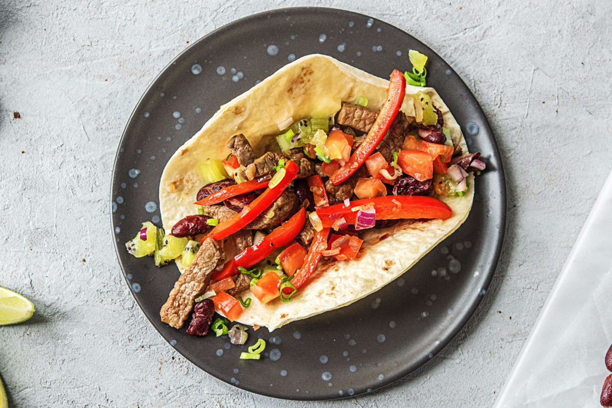 Kiwi Salsa and Steak Fajitas