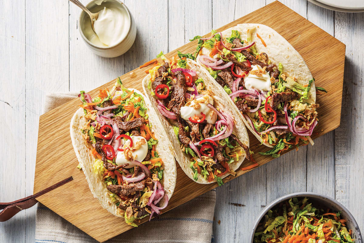 Korean Beef Tacos with Speedy Pickled Onion