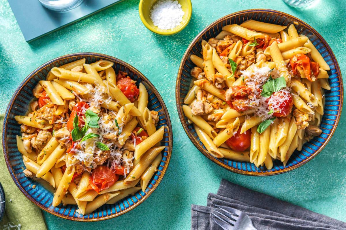 Krämig pasta med kyckling
