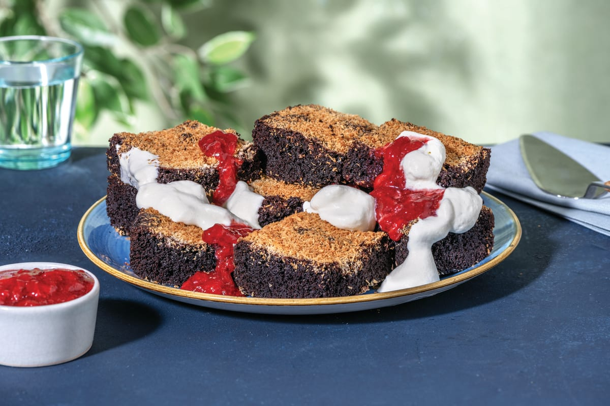 Lamington-Style Chocolate Brownie with Strawberry Compote & Whipped Cream