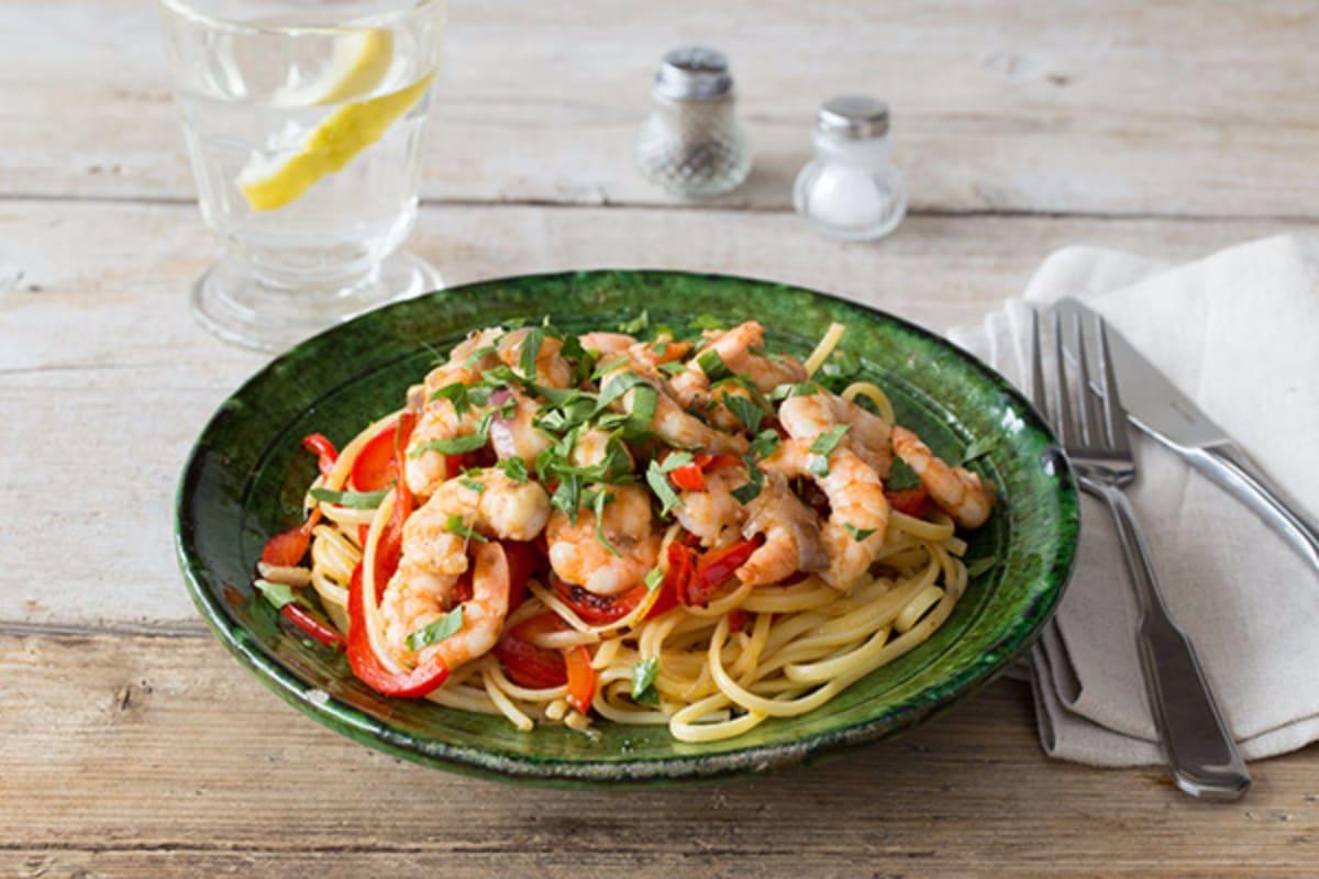 Lemony Shrimp Linguine