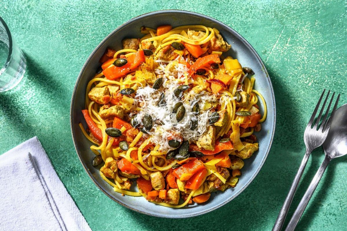 Linguine au curry & dés de porc