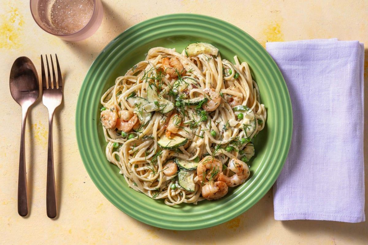 Roasted Shrimp and Zucchini Linguine
