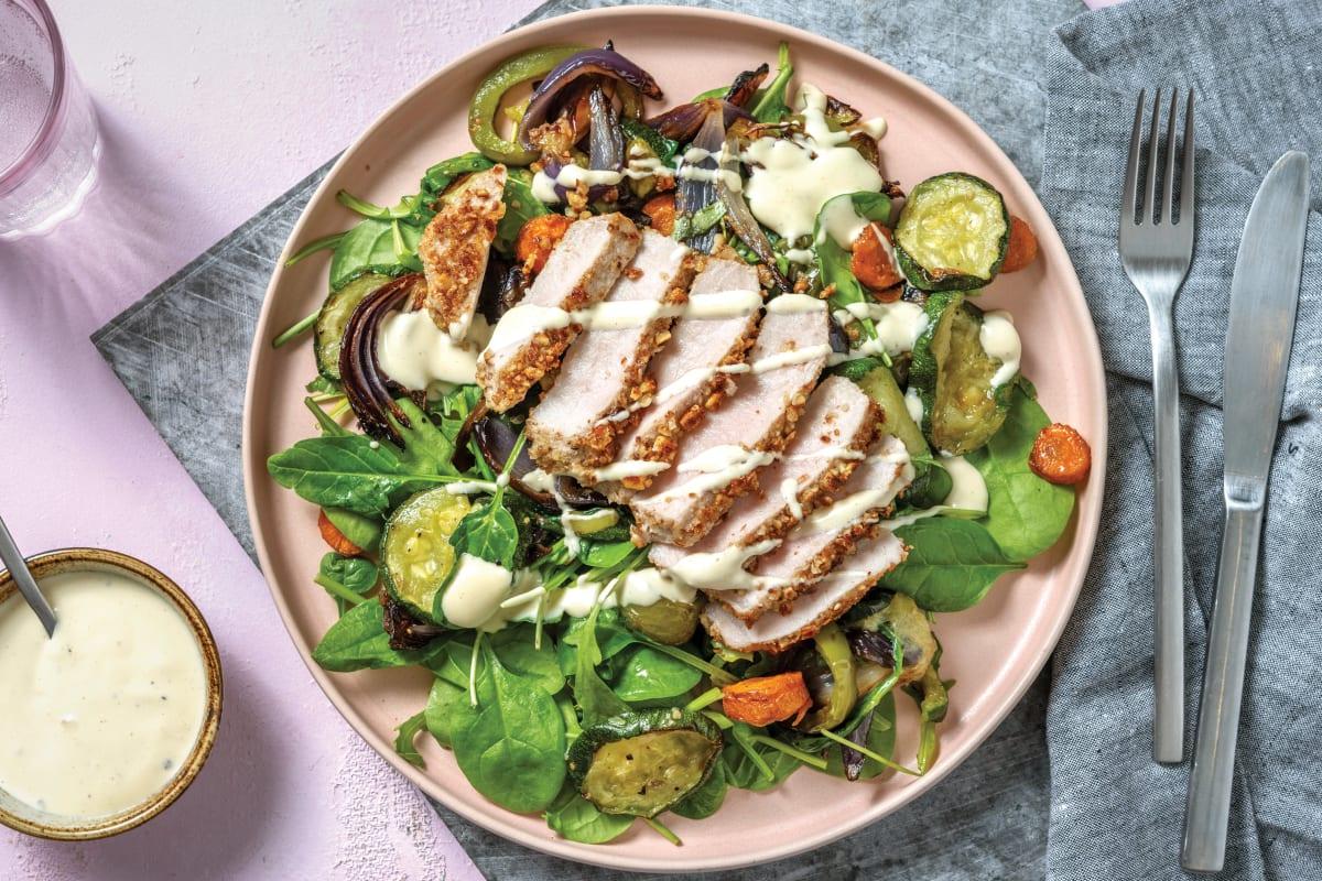 Almond-Crusted Pork & Roast Veggie Salad