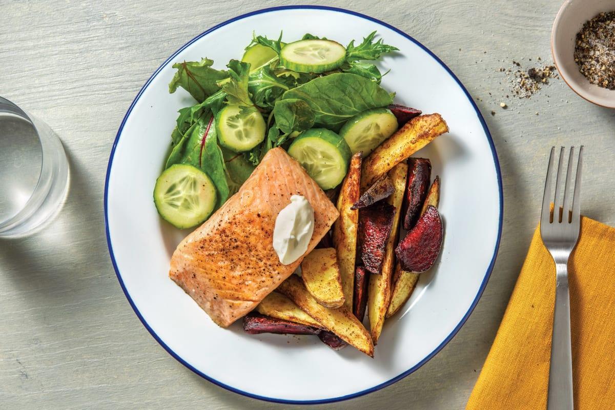 Pan-Fried Salmon & Garlic Sauce