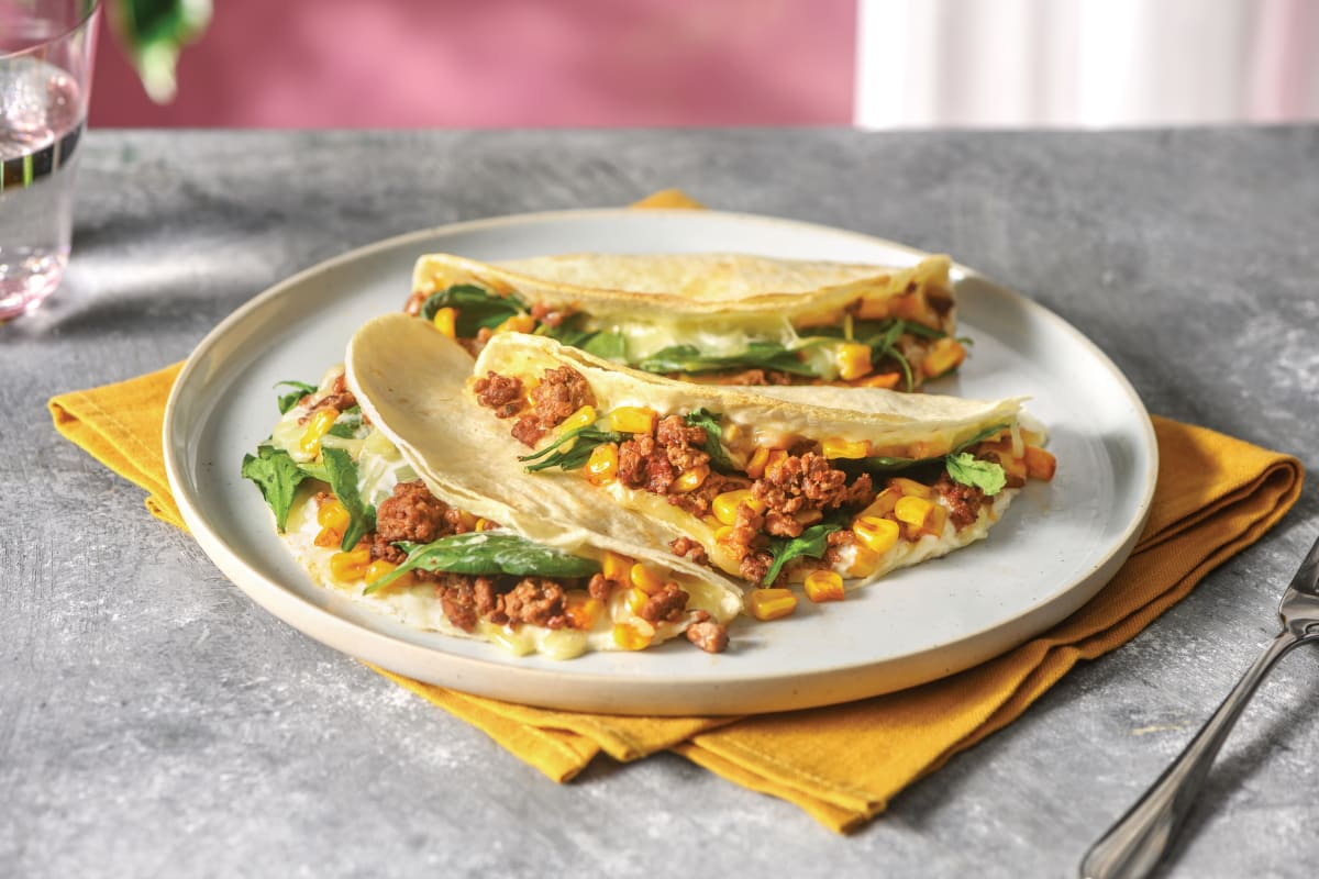 Mexican Beef & Sweetcorn Quesadilla with Cheddar Cheese & Sour Cream