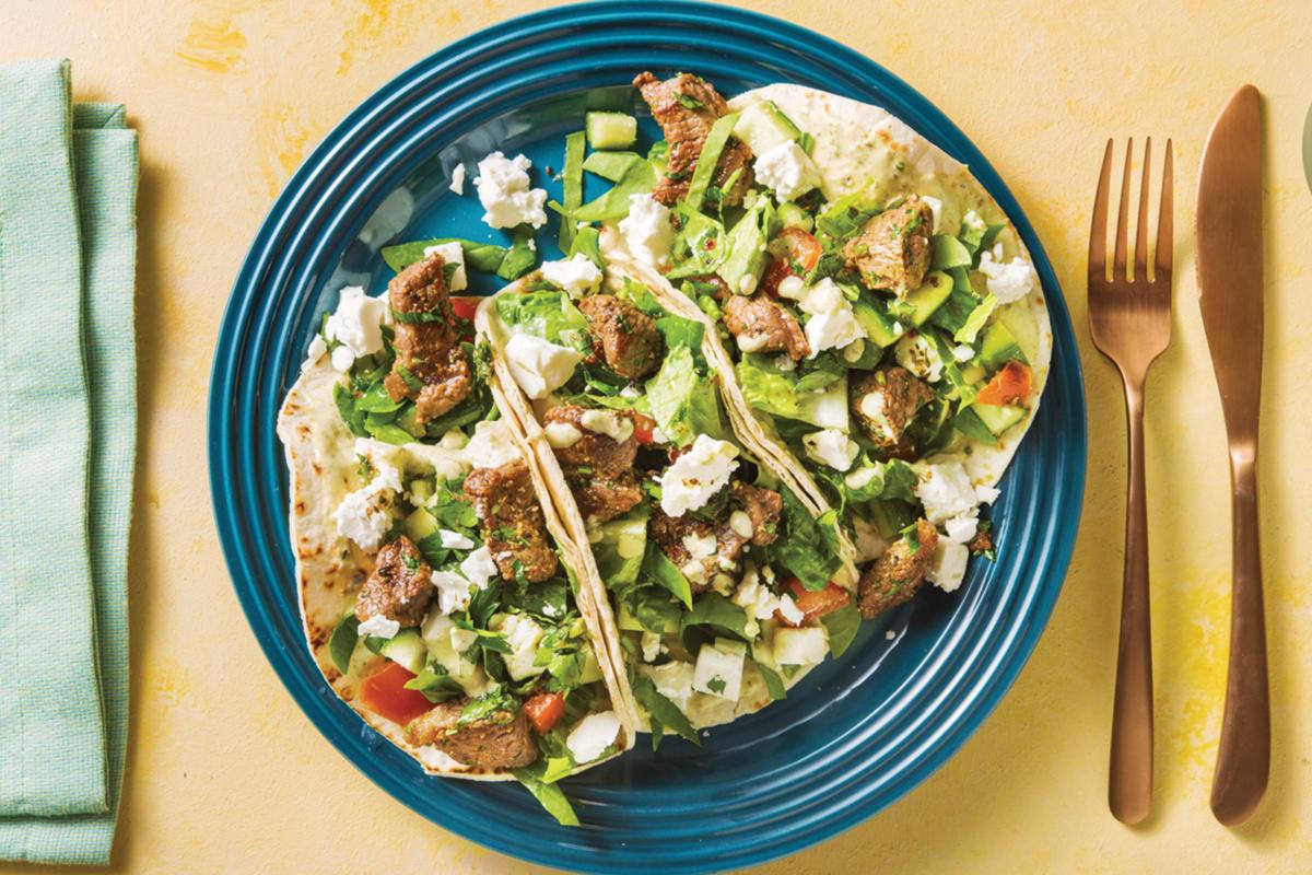 Mediterranean Beef Tacos with Fetta & Mint