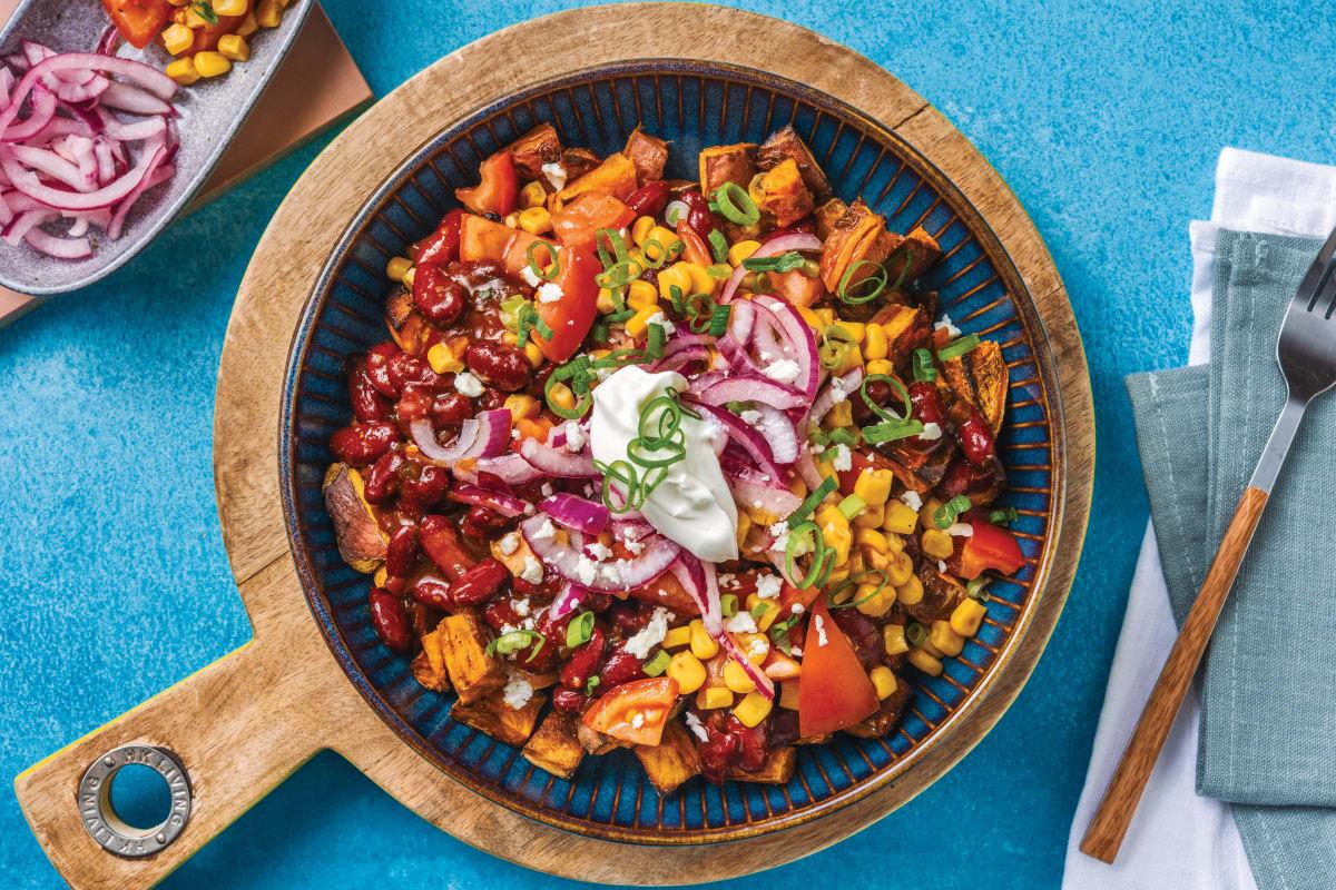 Saucy Mexican Bean & Roast Kumara Bowl
