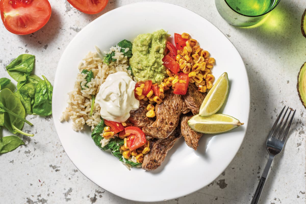 Quick Mexican Beef & Brown Rice Bowl with Guacamole & Sour Cream