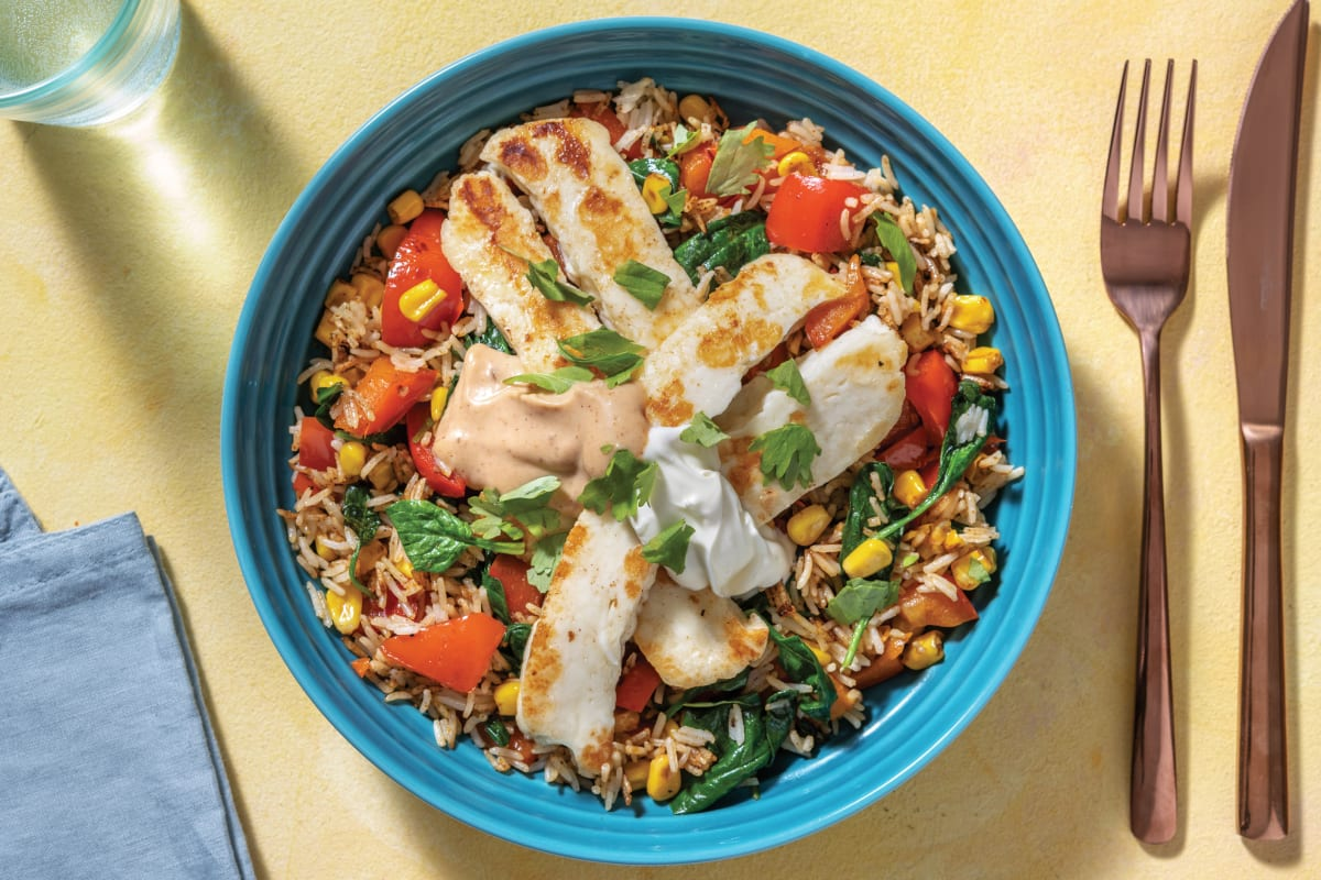 Mexican Haloumi & Corn Rice Bowl with BBQ Mayo & Sour Cream