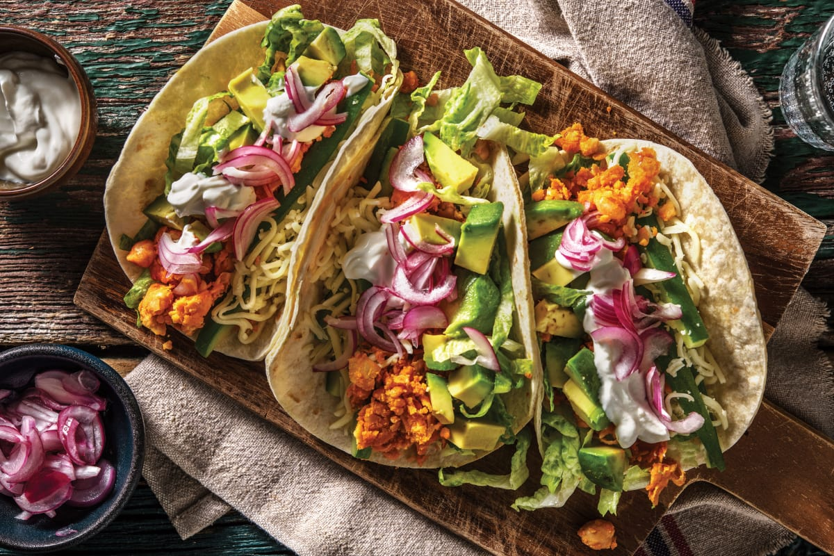 Mexican Smashed Chickpea Tacos Recipe Hellofresh