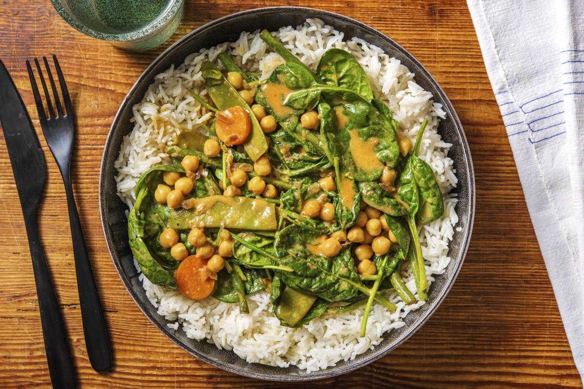 Milde curry met spinazie en kikkererwten