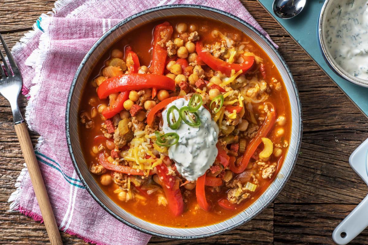 Mildes Chili con Carne mit Chorizo & Kichererbsen
