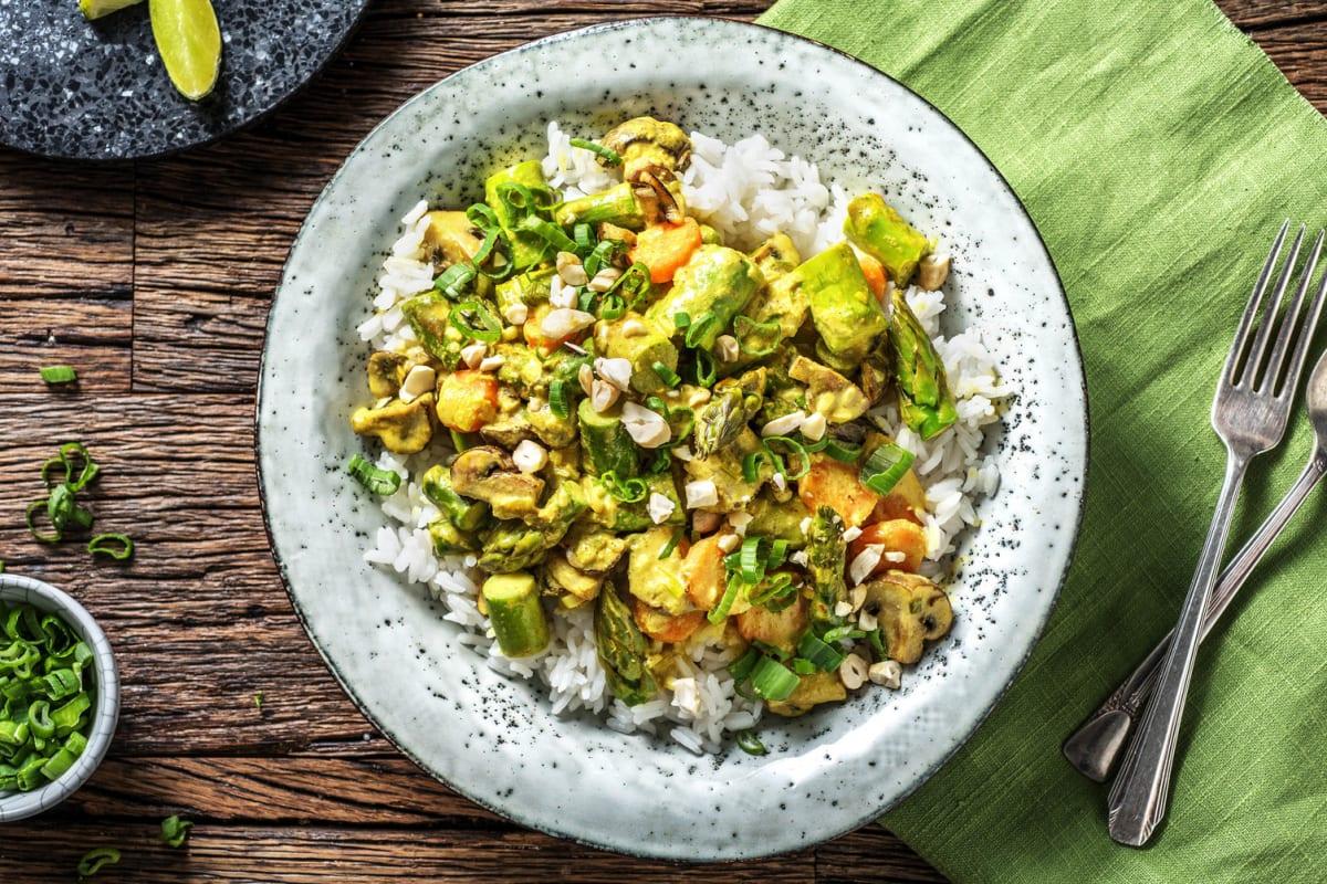 Mildes, grünes Curry mit Zucchini