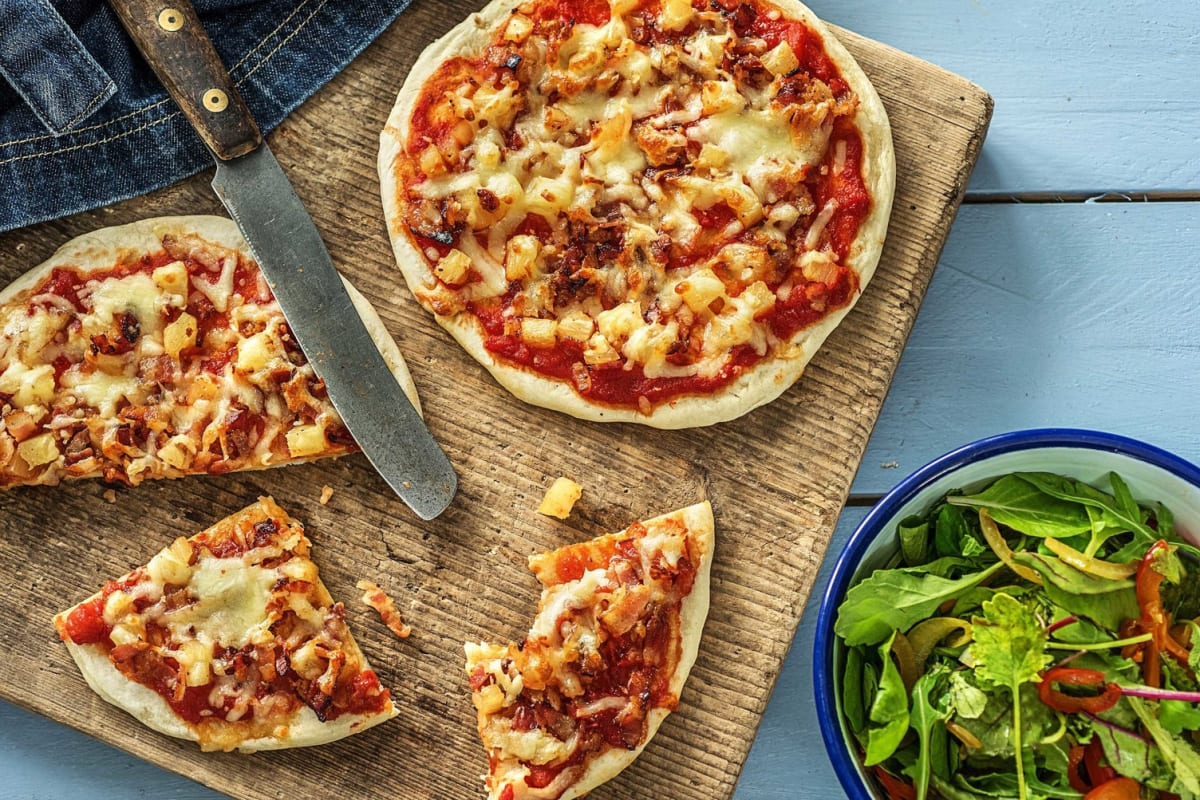 Mini Maple-Bacon and Pineapple Pizzas