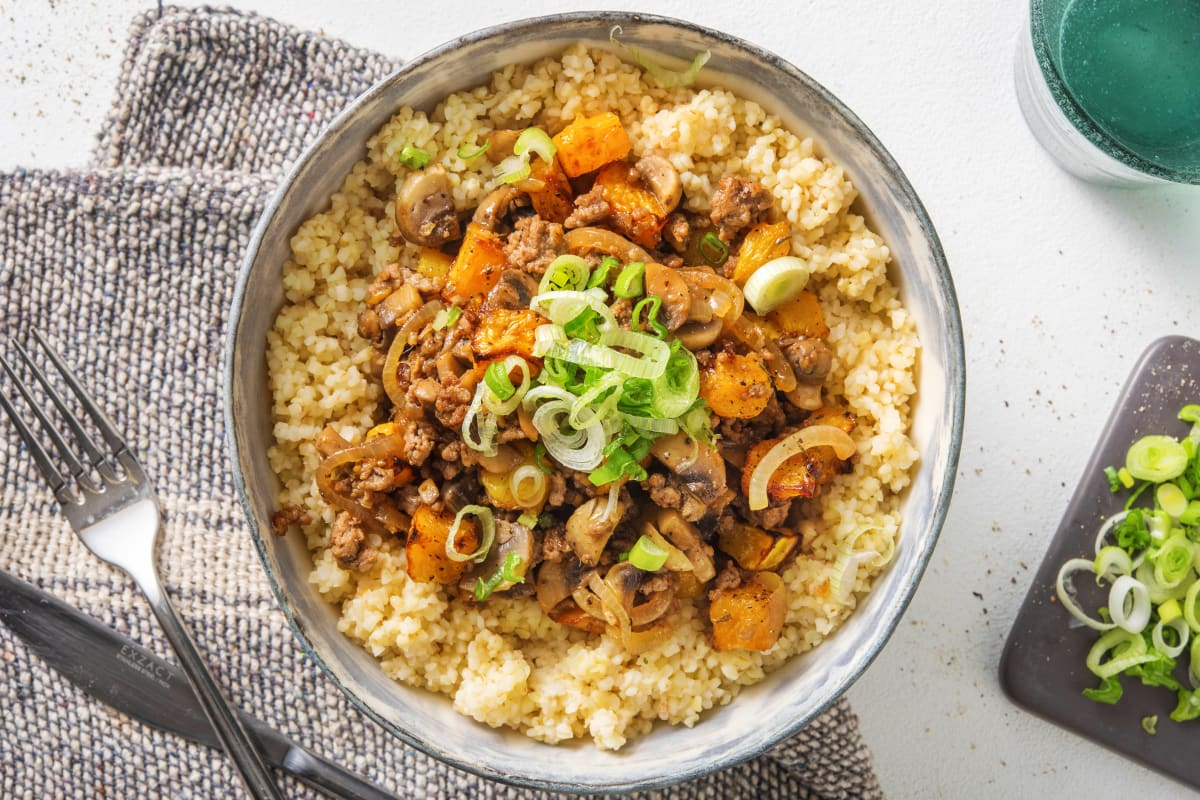 Miso Beef, Mushroom and Roasted Butternut Squash Stew