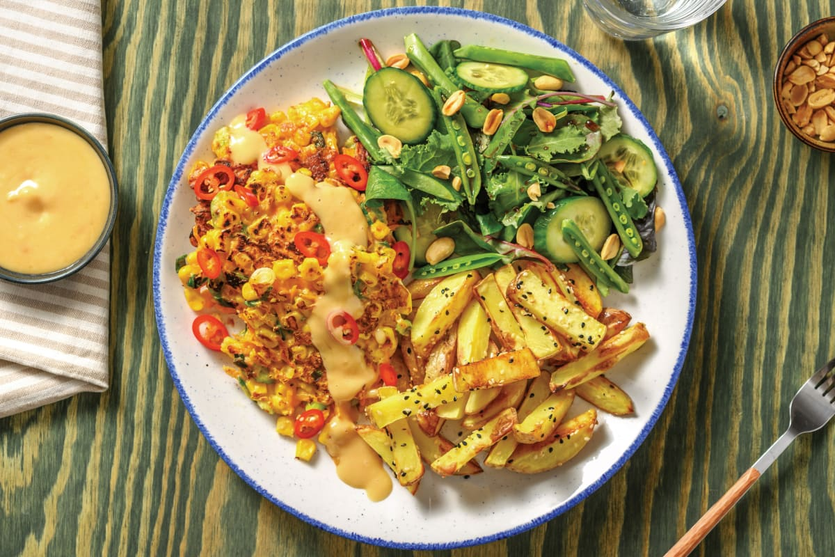 Miso Corn Fritters & Sesame Fries