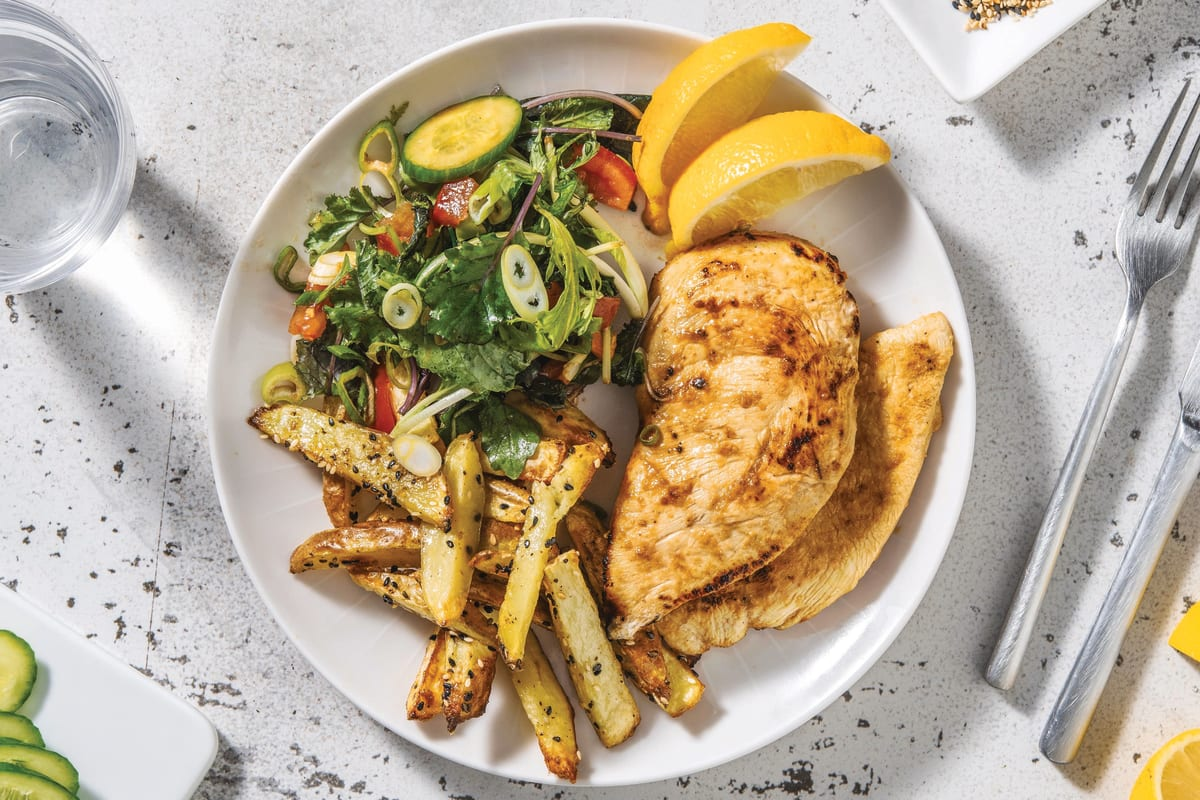 Miso-Ginger Chicken & Sesame Fries with Rainbow Salad