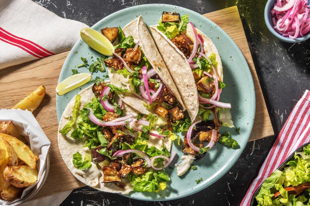 Miso Glazed Aubergine Tacos