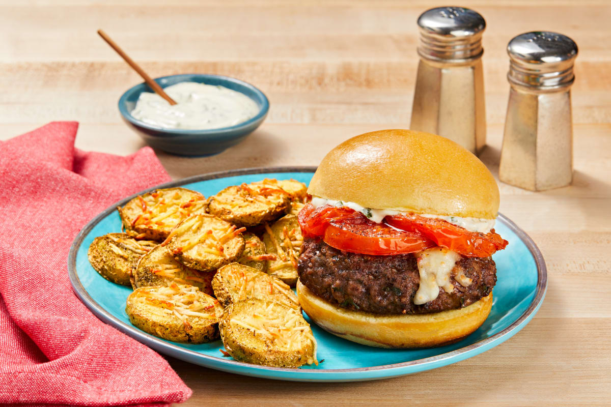 Mozz-Stuffed Caprese Burgers