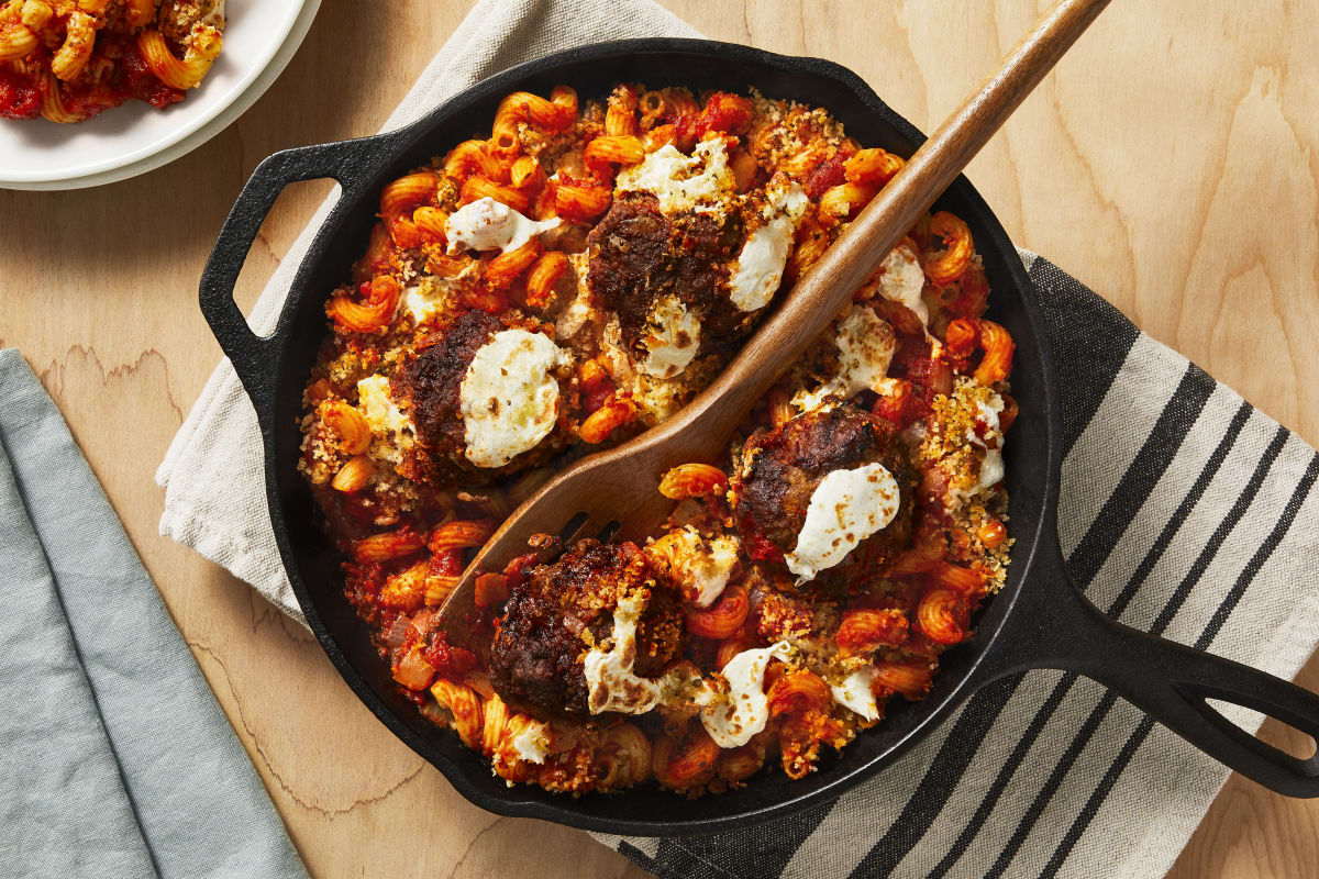 Mozzarella-Stuffed Meatball Bake