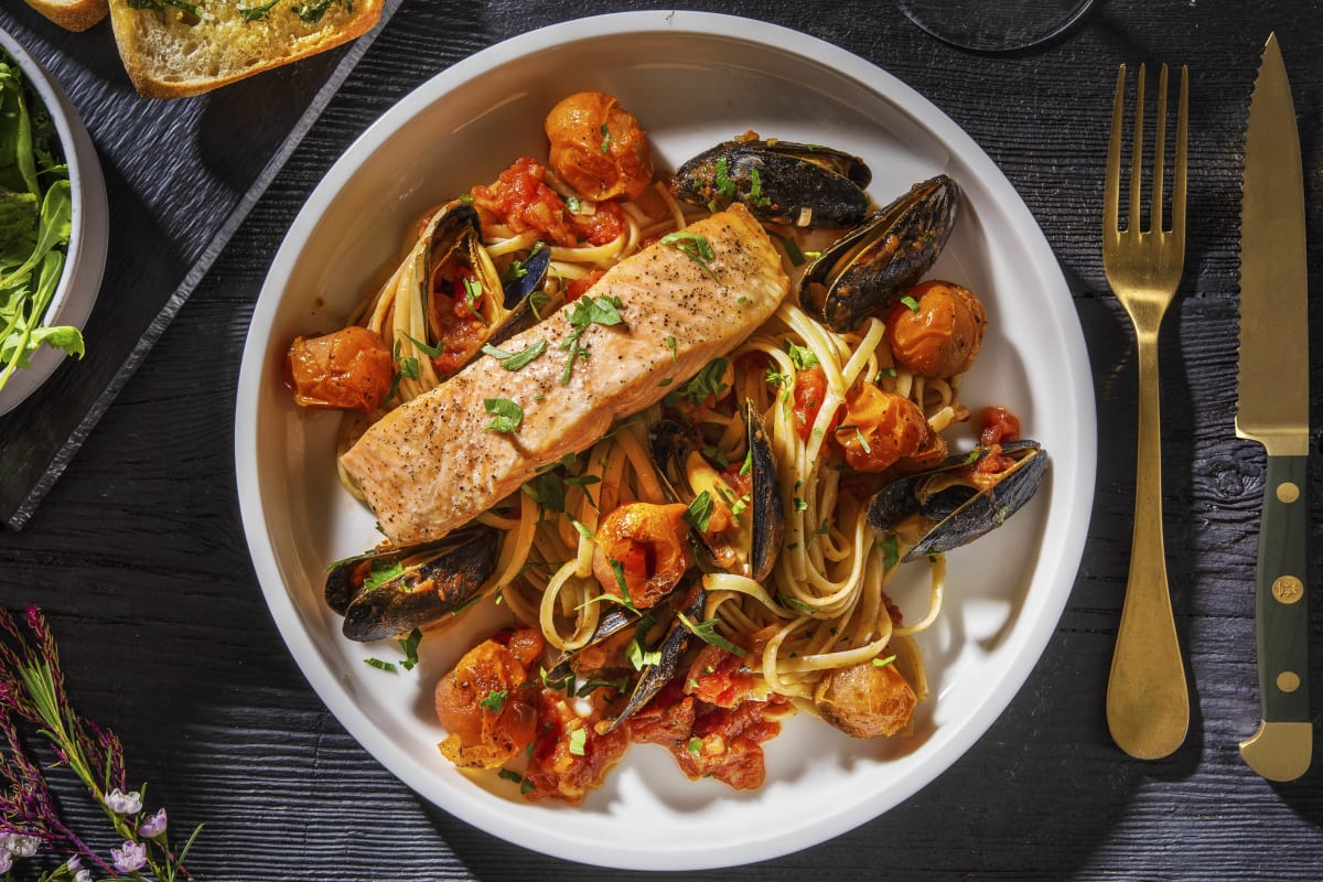 Mussel Linguine and Roasted Salmon
