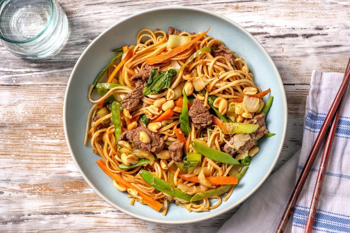 Nouilles sautées au bœuf  à l'asiatique