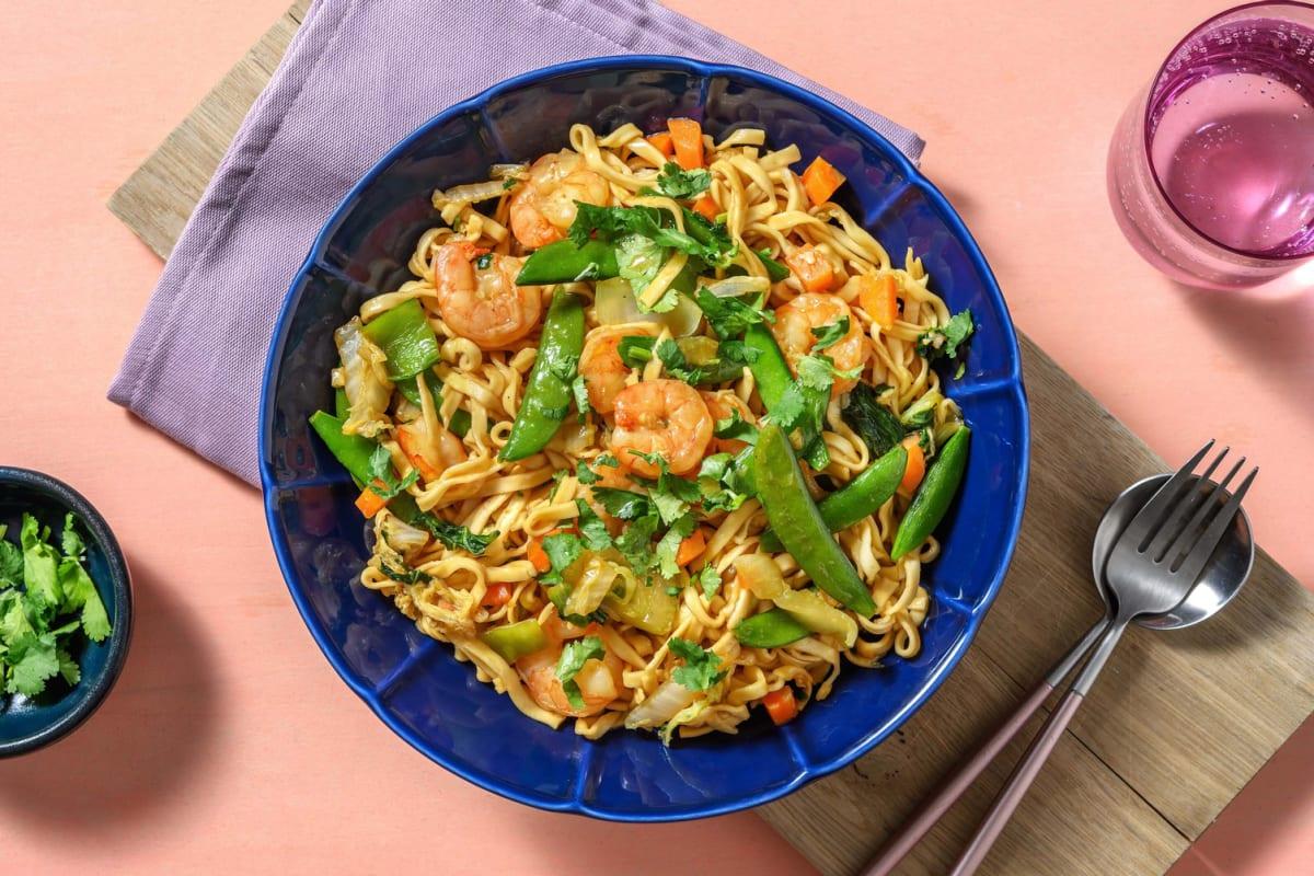 Nouilles sautées aux crevettes & aux légumes