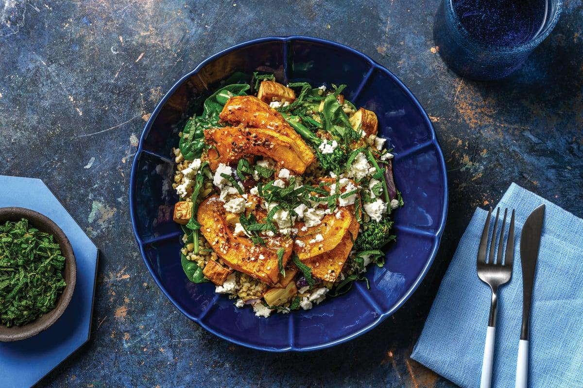 Dukkah-Roasted Pumpkin Wedges & Freekeh