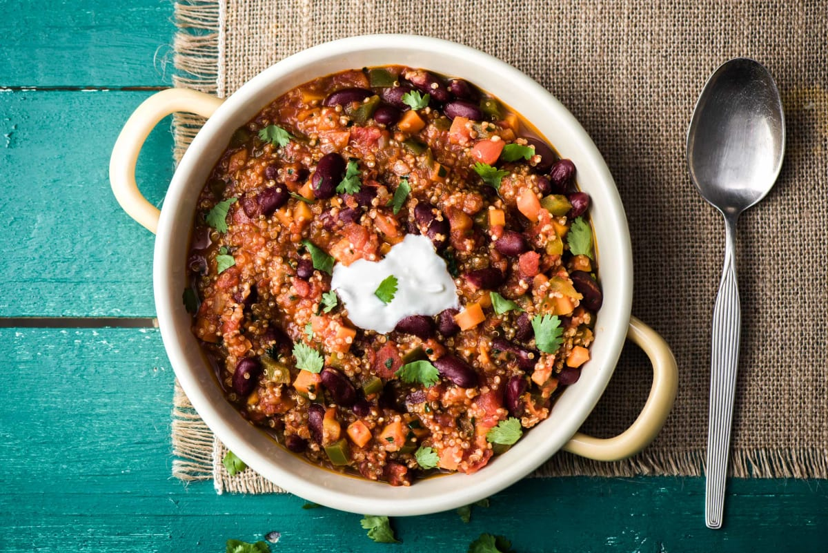 One Pot Vegetarian Chilli With Quinoa Recipe Hellofresh