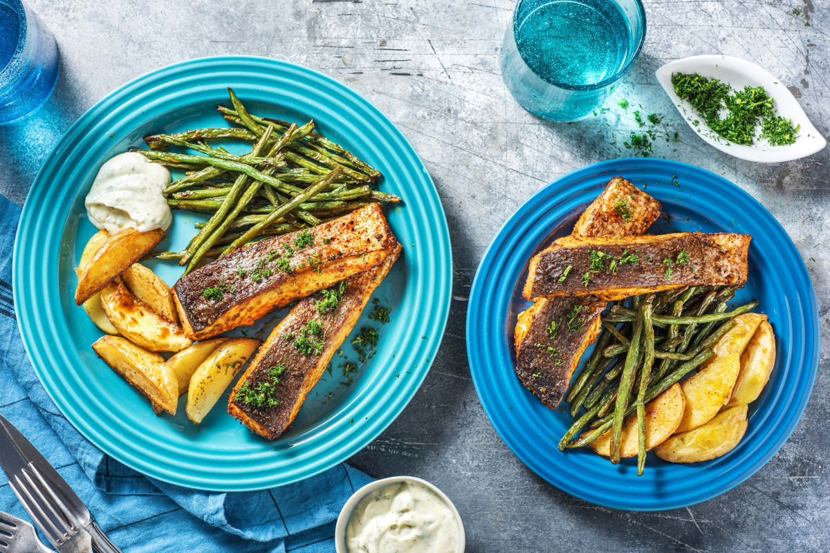 One-Tray Herb Rubbed Salmon