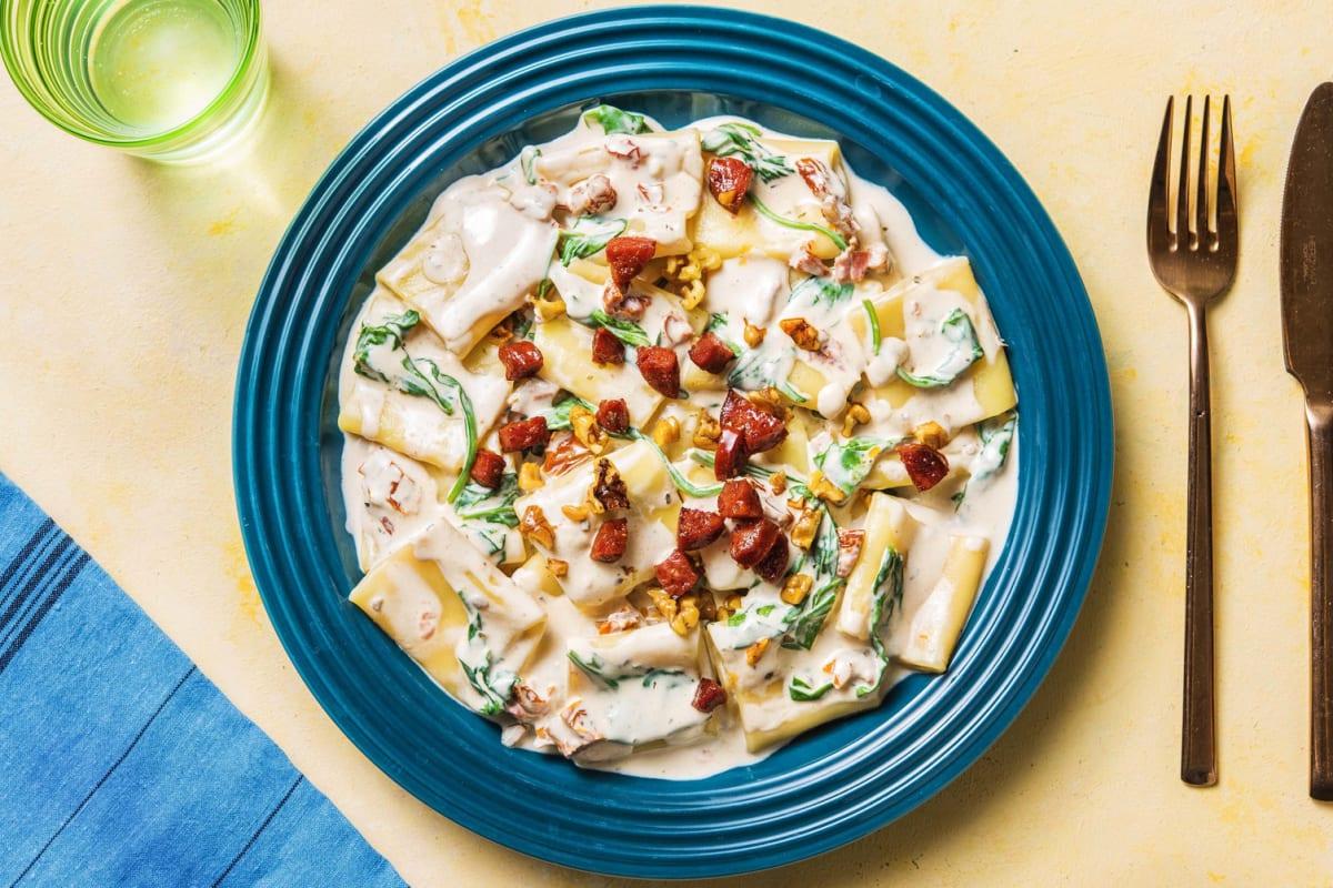 Paccheri-Pasta mit Mascarponesoße