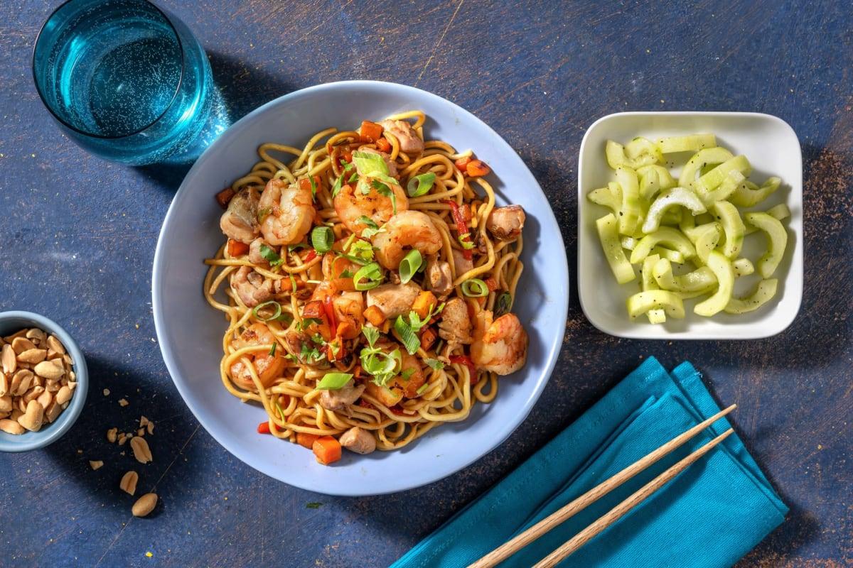 Pad thaï : nouilles aux crevettes et poulet
