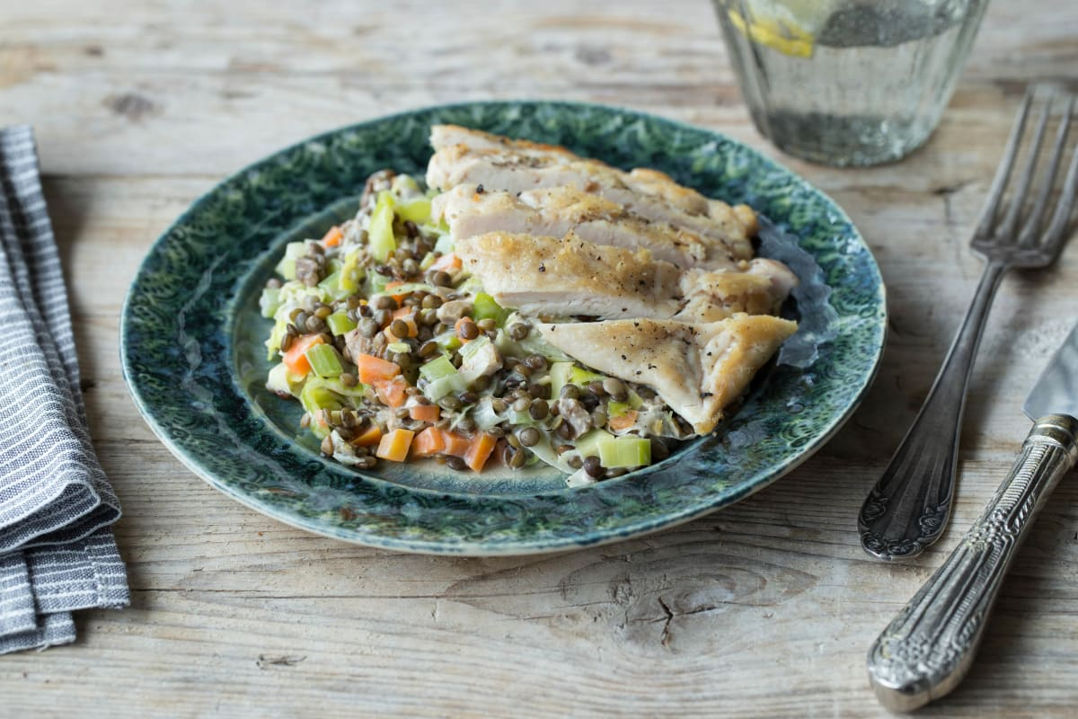 Pan-Fried Chicken with Spicy Lentils
