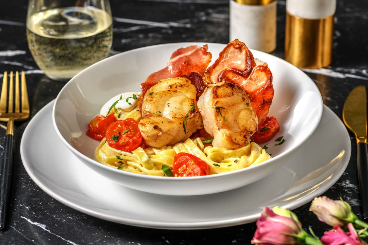 Pan Fried Monkfish with Creamy Tagliatelle