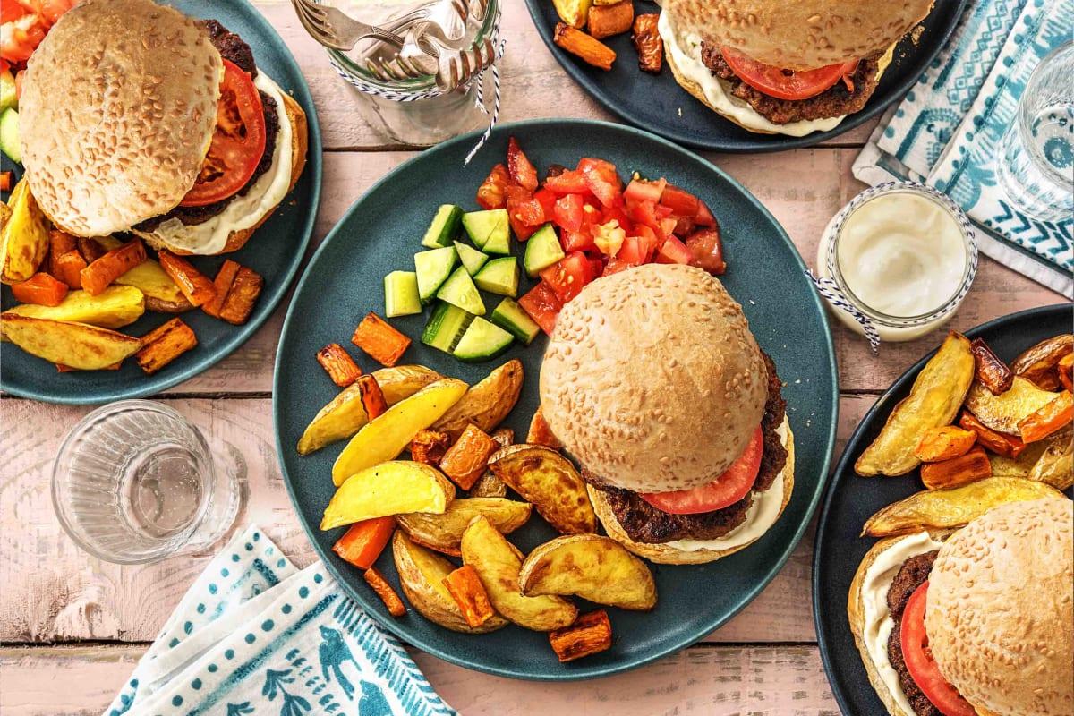 Burger With Chips And Mayo Recipe Hellofresh