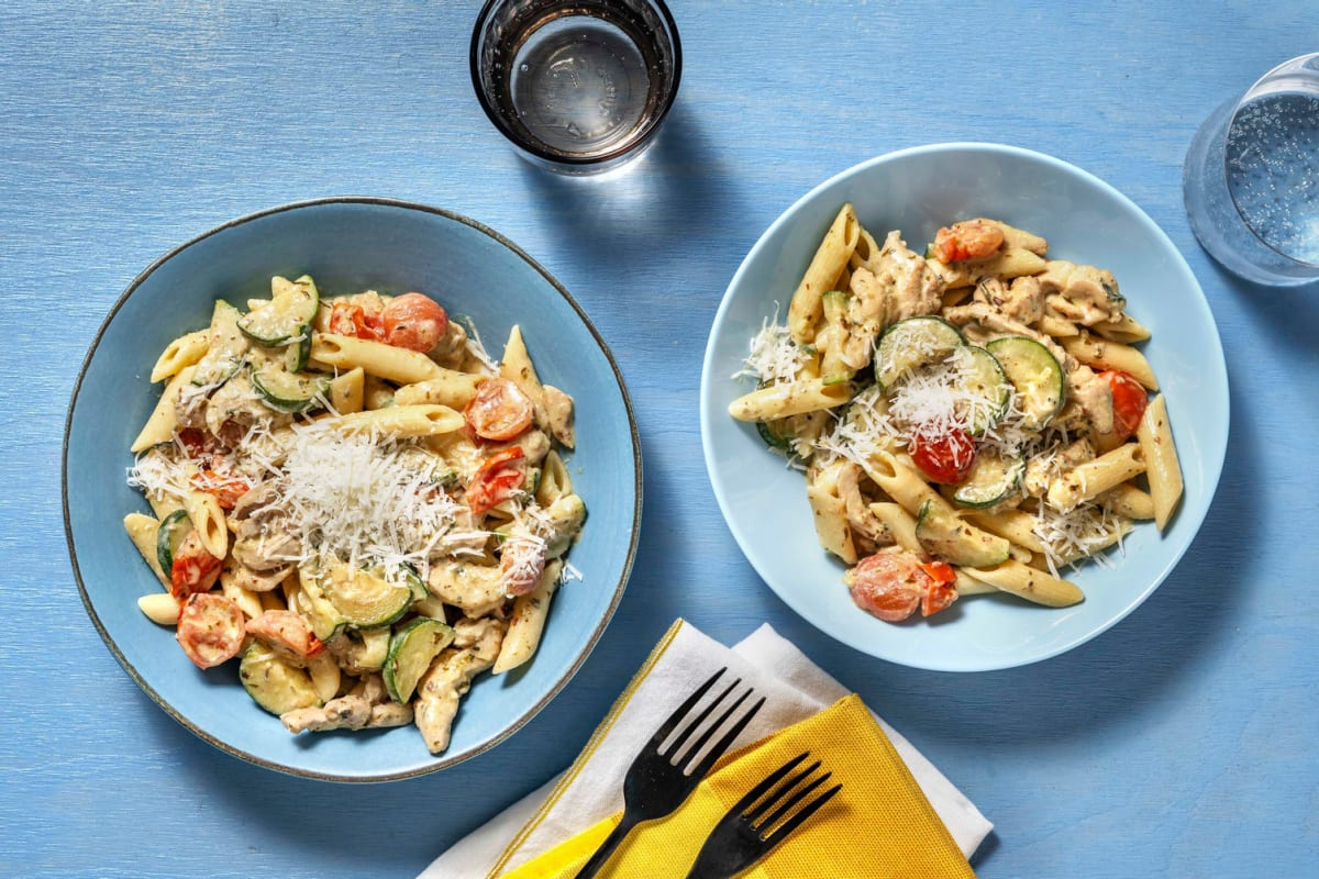Romige pasta pesto met kip