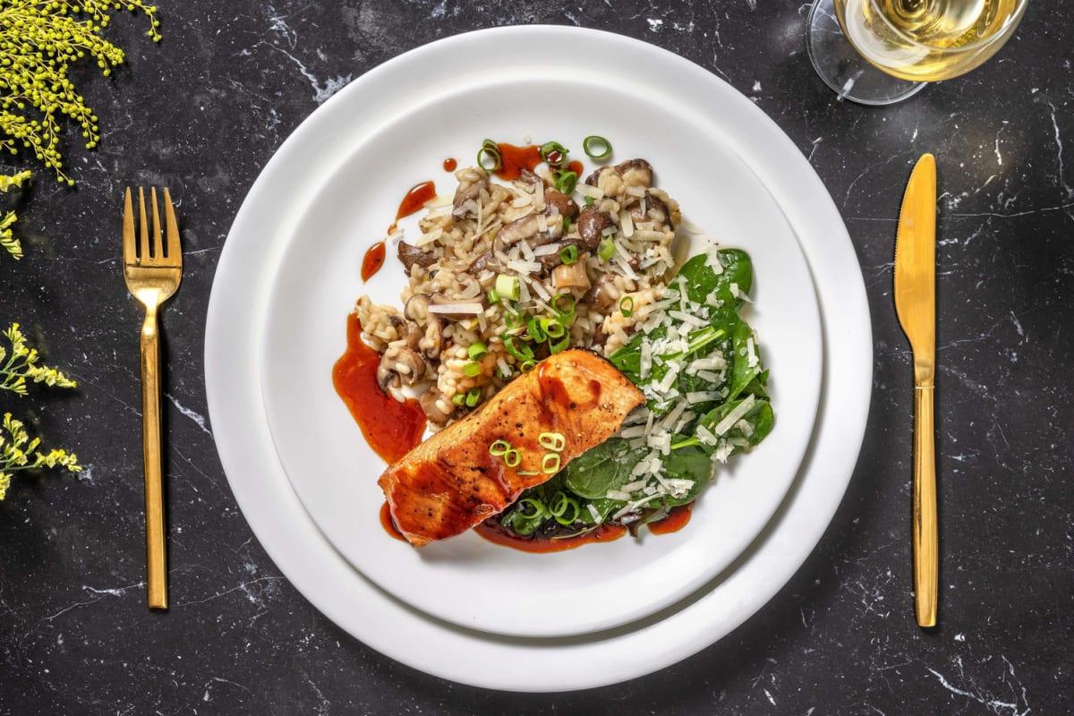 Pavé de saumon laqué & risotto aux champignons