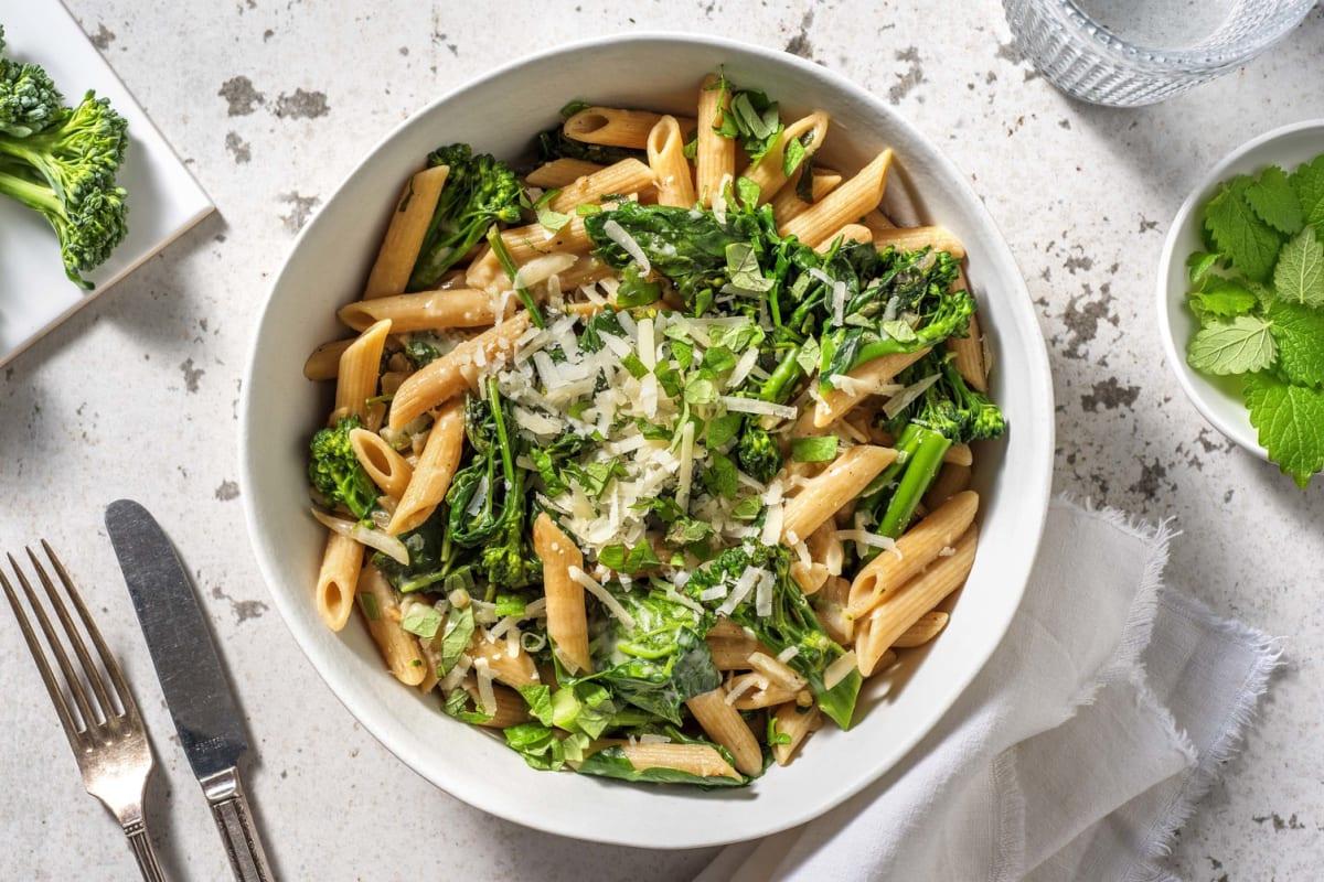 Penne complètes aux broccolini & épinards