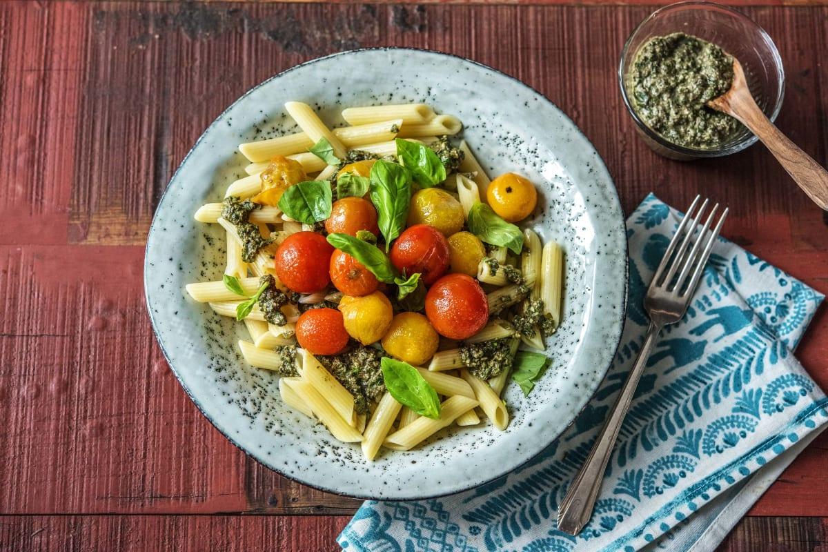 Penne mit Oliven-Basilikum-Pesto