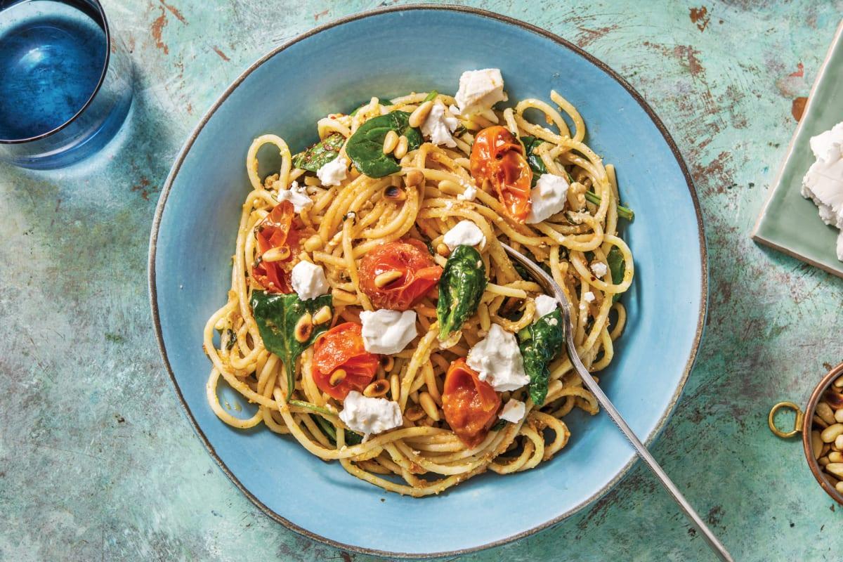 Basil Pesto & Goat Cheese Spaghetti