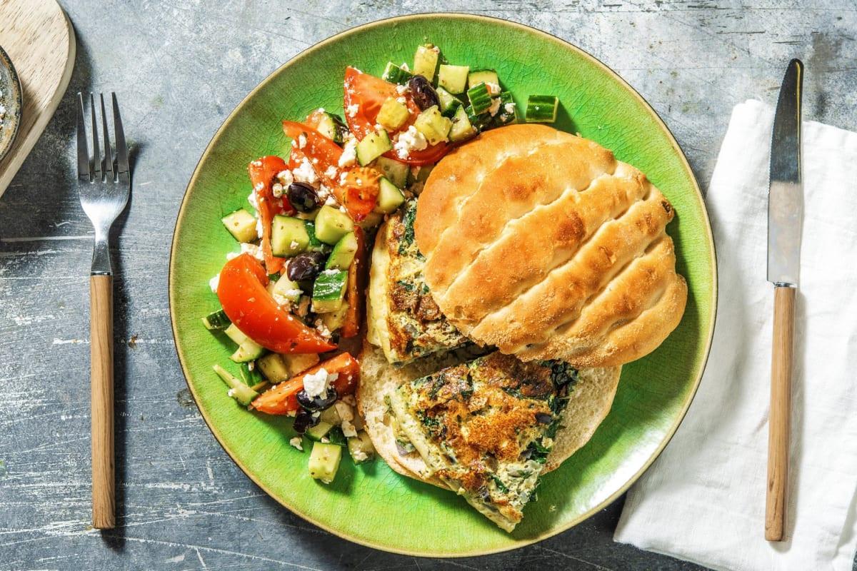 Pide met spinazie-omelet