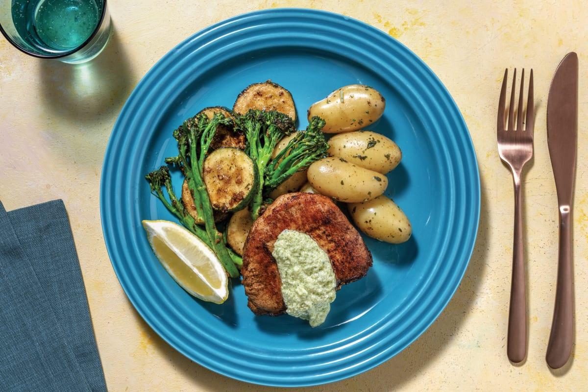 Pork Loin with Garlic Butter Potatoes & Greens