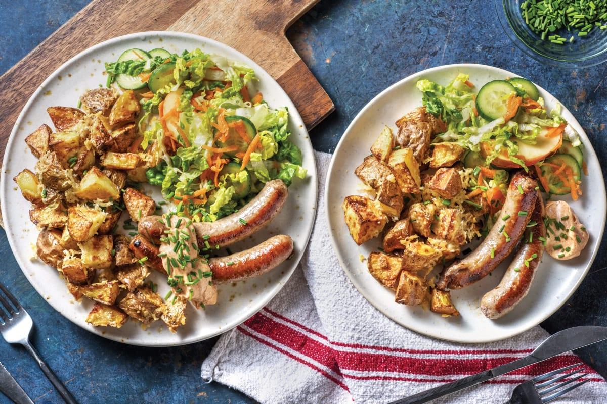 Pork Sausages & Cheesy American Potatoes